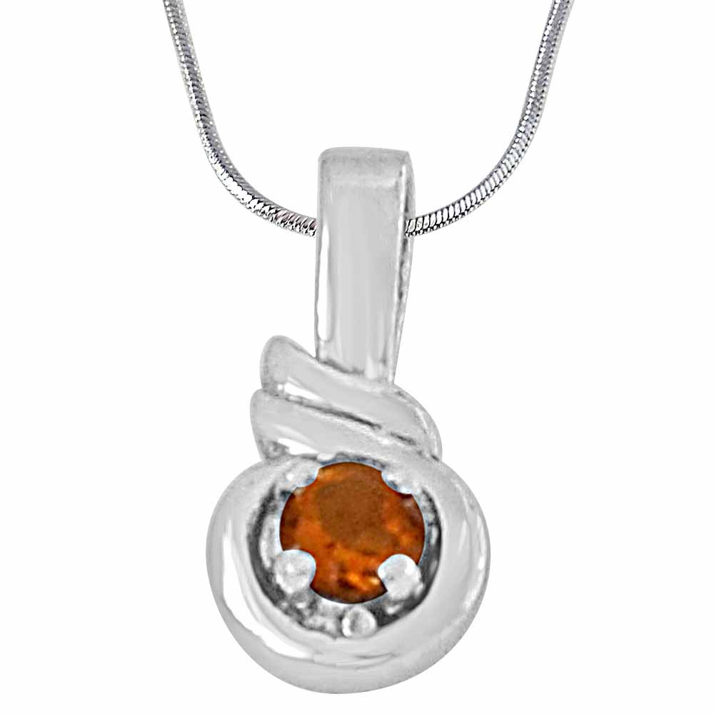 Silver Pendants-Round shaped yellow topaz and 925 sterling silver pendant with 18 in silver finished chain
