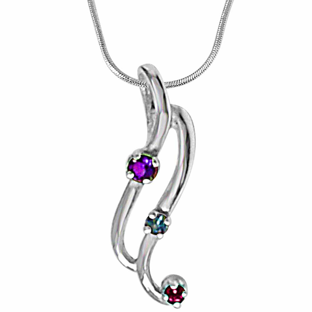 Silver Pendants-Curvy blue topaz, amethyst rhodolite & 925 sterling silver pendant with 18 in silver finished chain