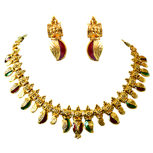 Precious Stone Sets-Red & Green Gold Plated Necklace Earring Jewellery