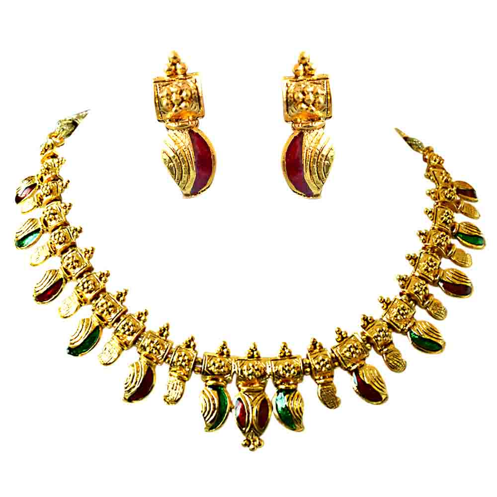 Red & Green Gold Plated Necklace Earring Jewellery