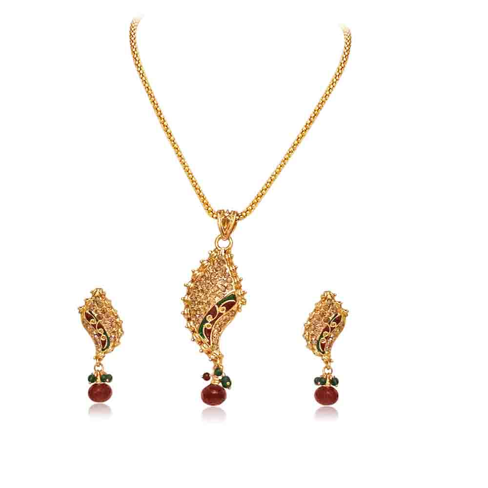 Gold Plated Pendant Necklace & Earring Set