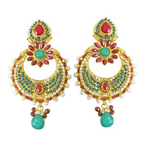 Gold Plated Earrings-Pearl Copper Gold Plated Chand Bali Earrings