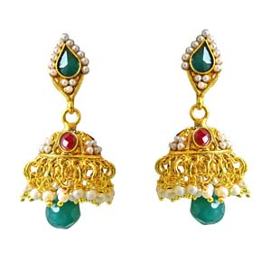 Gold Plated Earrings-Traditional Gold Plated Copper Jhumki Earrings