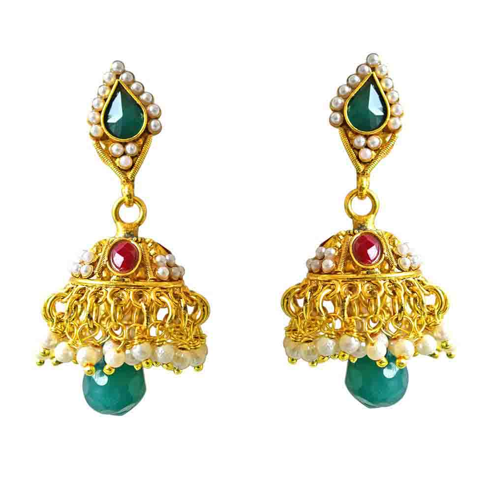 Traditional Gold Plated Copper Jhumki Earrings