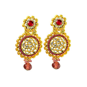 Gold Plated Earrings-Gold Plated Round Shaped Chandbali Earrings