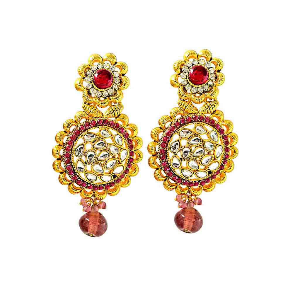 Gold Plated Round Shaped Chandbali Earrings
