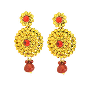 Gold Plated Earrings-Rajasthani Style Gold Plated Chandbali Earrings
