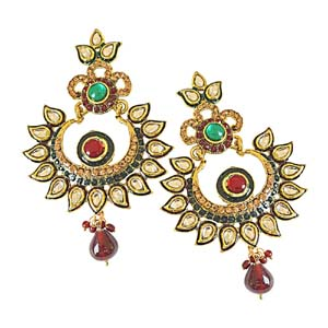 Gold Plated Earrings-Rajasthani Polki Gold Plated Dangling Earrings