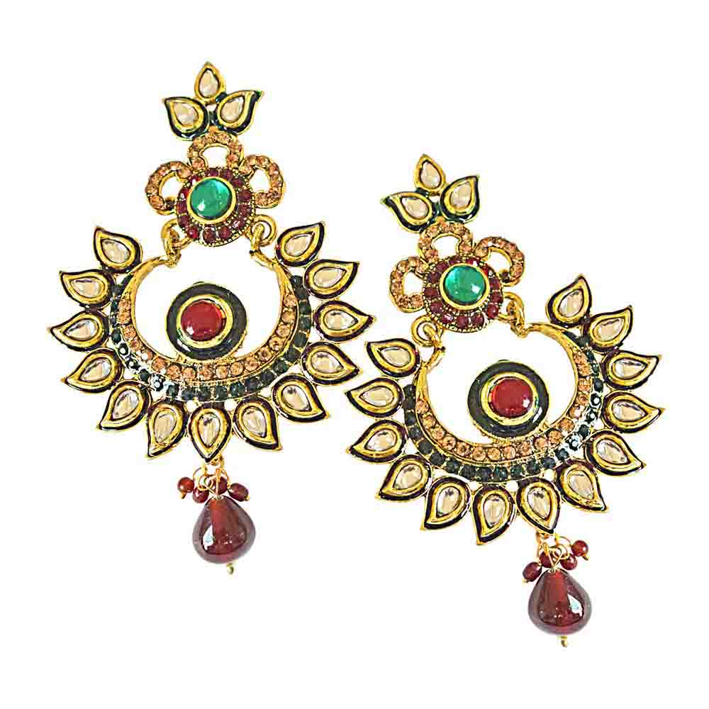 Rajasthani Polki Gold Plated Dangling Earrings