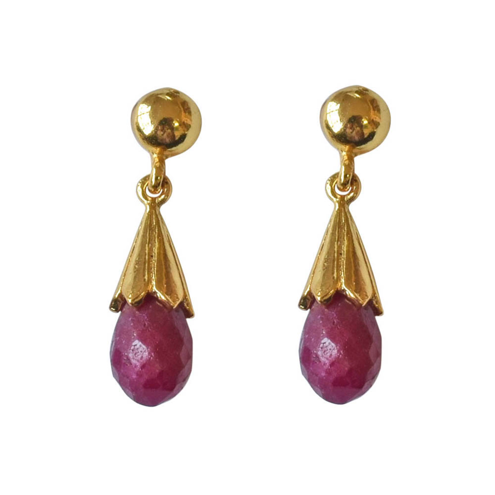 Drop Ruby & Gold Plated Silver Earrings