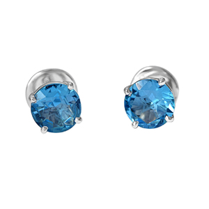 Precious Stone Earrings-2.00 cts Blue Topaz Gemstone Solitaire Earrings