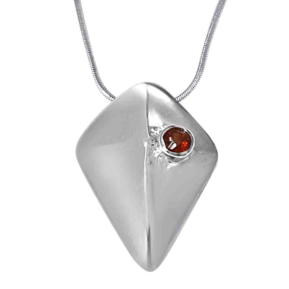 Red Garnet & 925 Sterling Silver Pendant