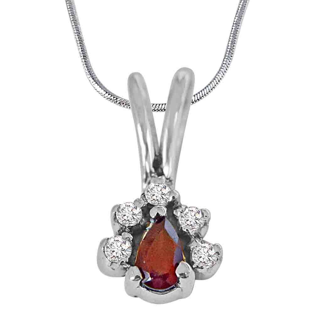 Pear Garnet, Topaz and 925 Sterling Silver Pendant