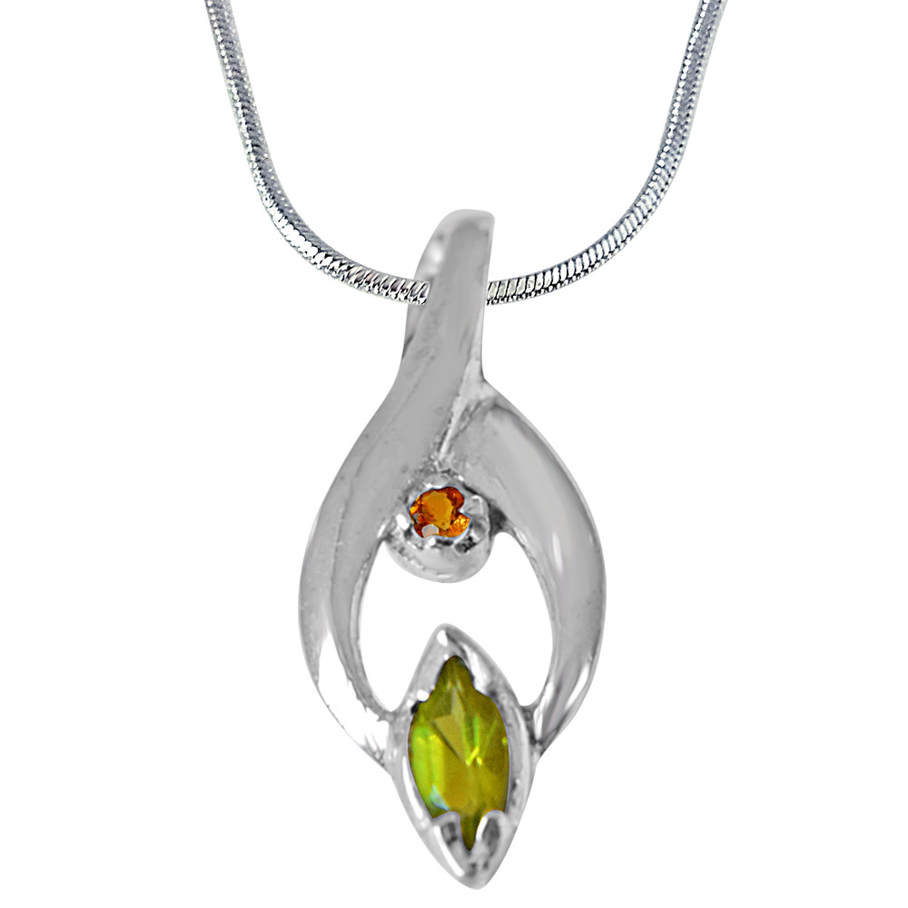 Peridot, Citrine and 925 Sterling Silver Pendant