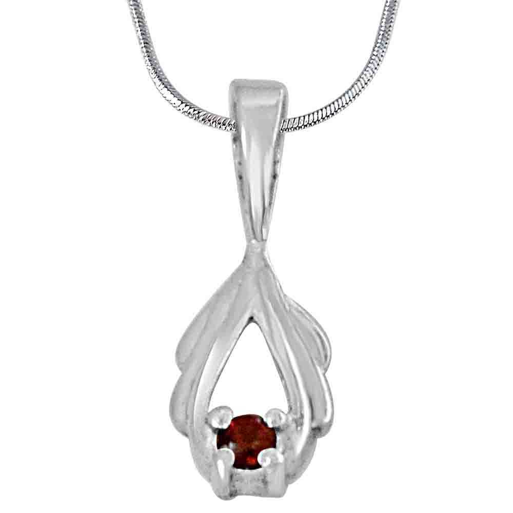 Red Garnet and 925 Sterling Silver Pendant