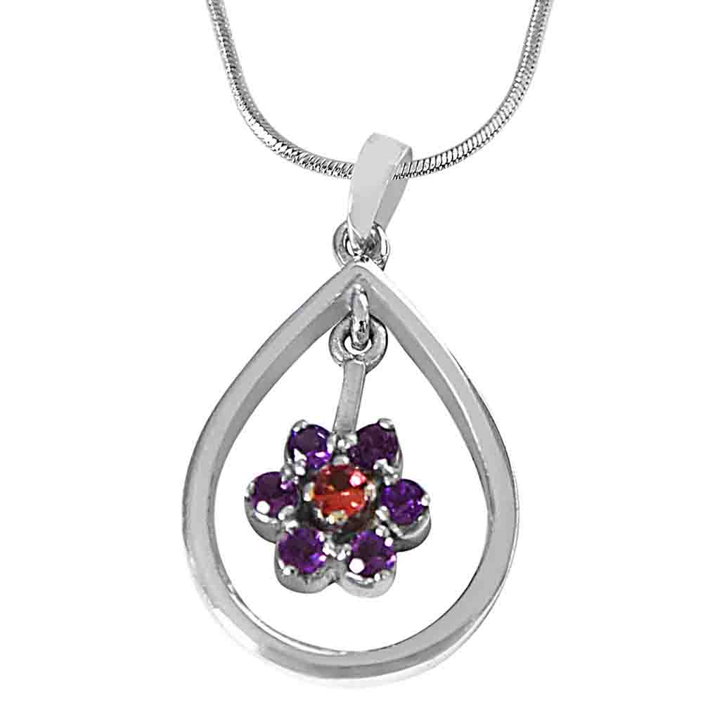 Purple Amethyst & Pink Tourmaline in 925 Sterling Silver Pendant