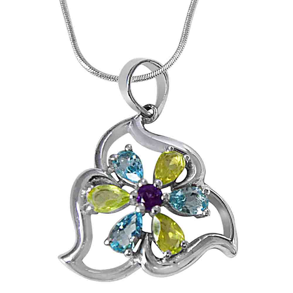 Green Peridot, Blue Topaz & Purple Amethyst in 925 Sterling Silver Pendant