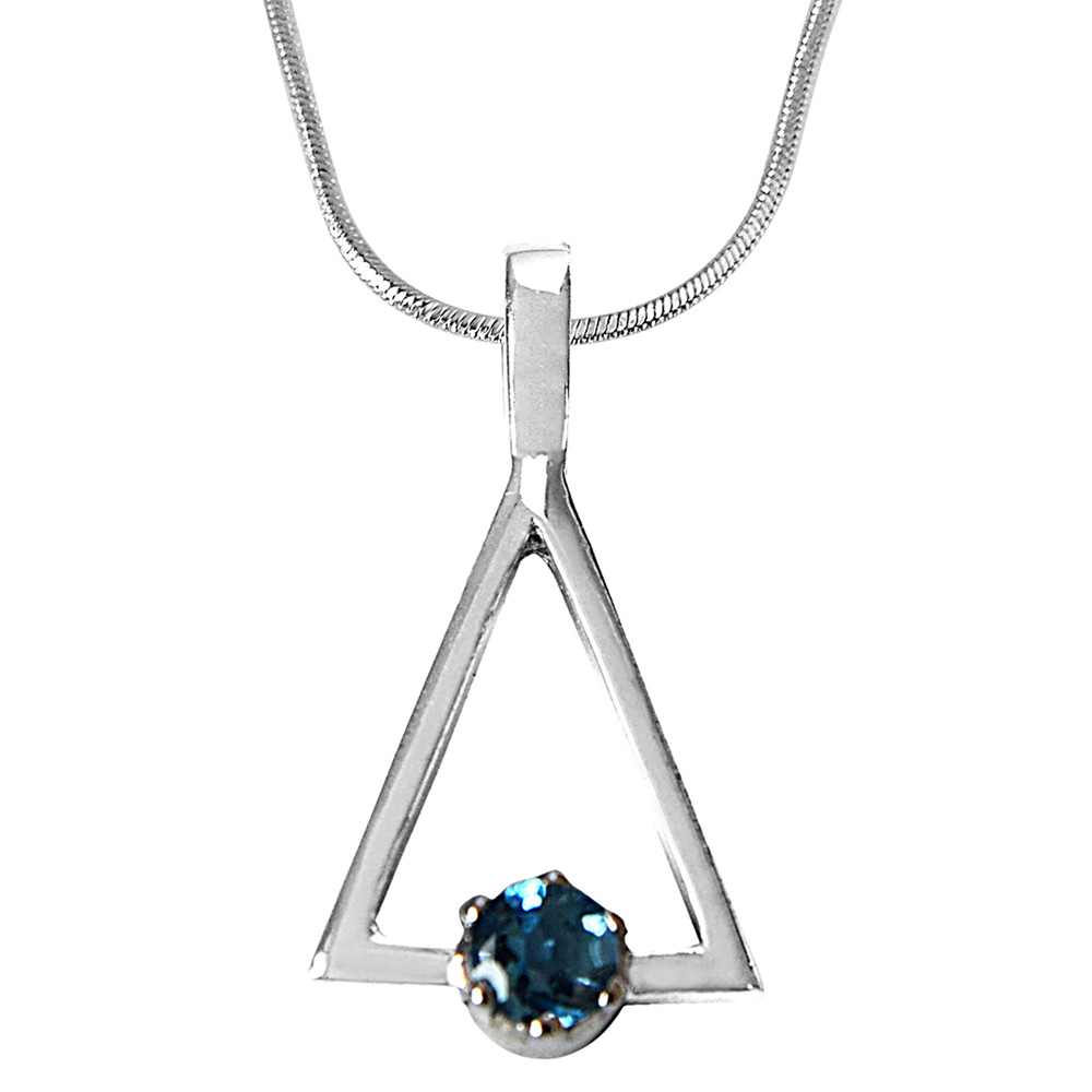Round Blue Topaz in 925 Sterling Silver Triangle Pendant