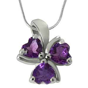 Precious Stone Pendant-Purple Heart Amethyst in 925 Sterling Silver Heart Pendant with 18 IN Chain