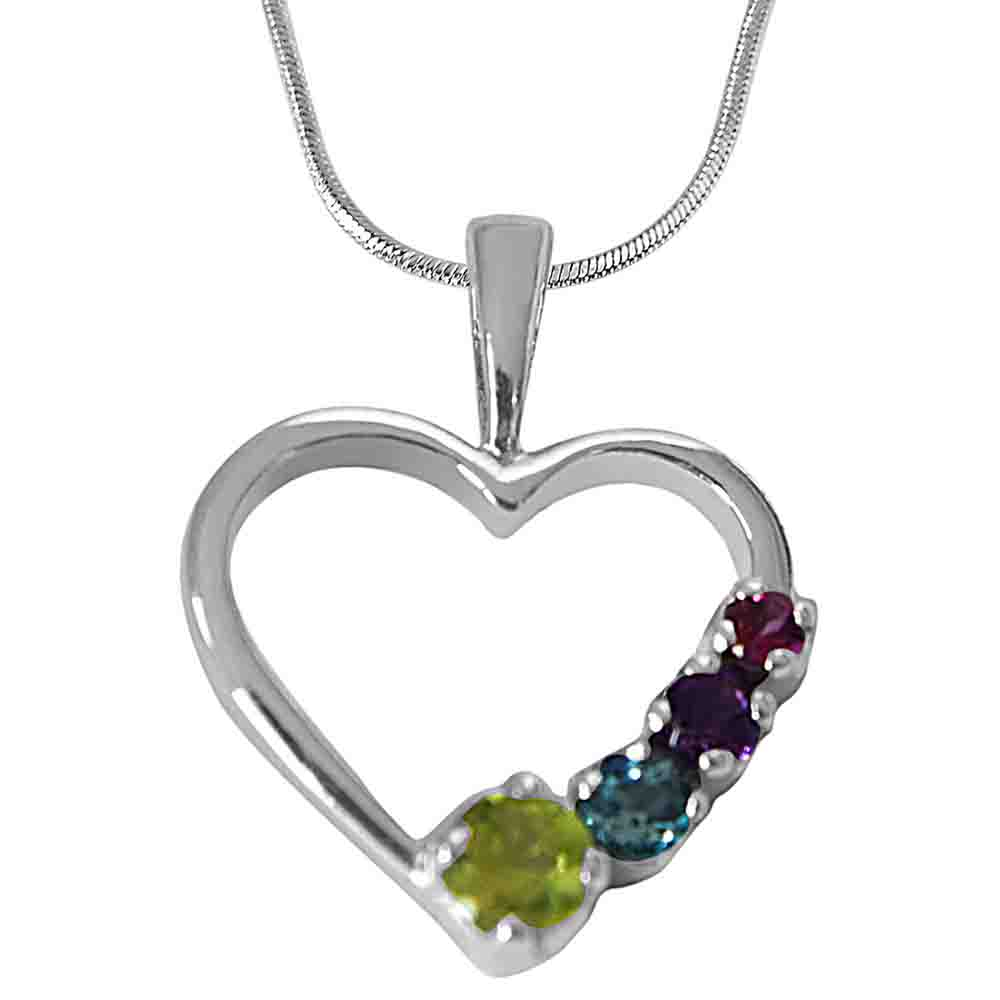 Peridot, Topaz, Amethyst & Rhodolite in Heart Shaped
