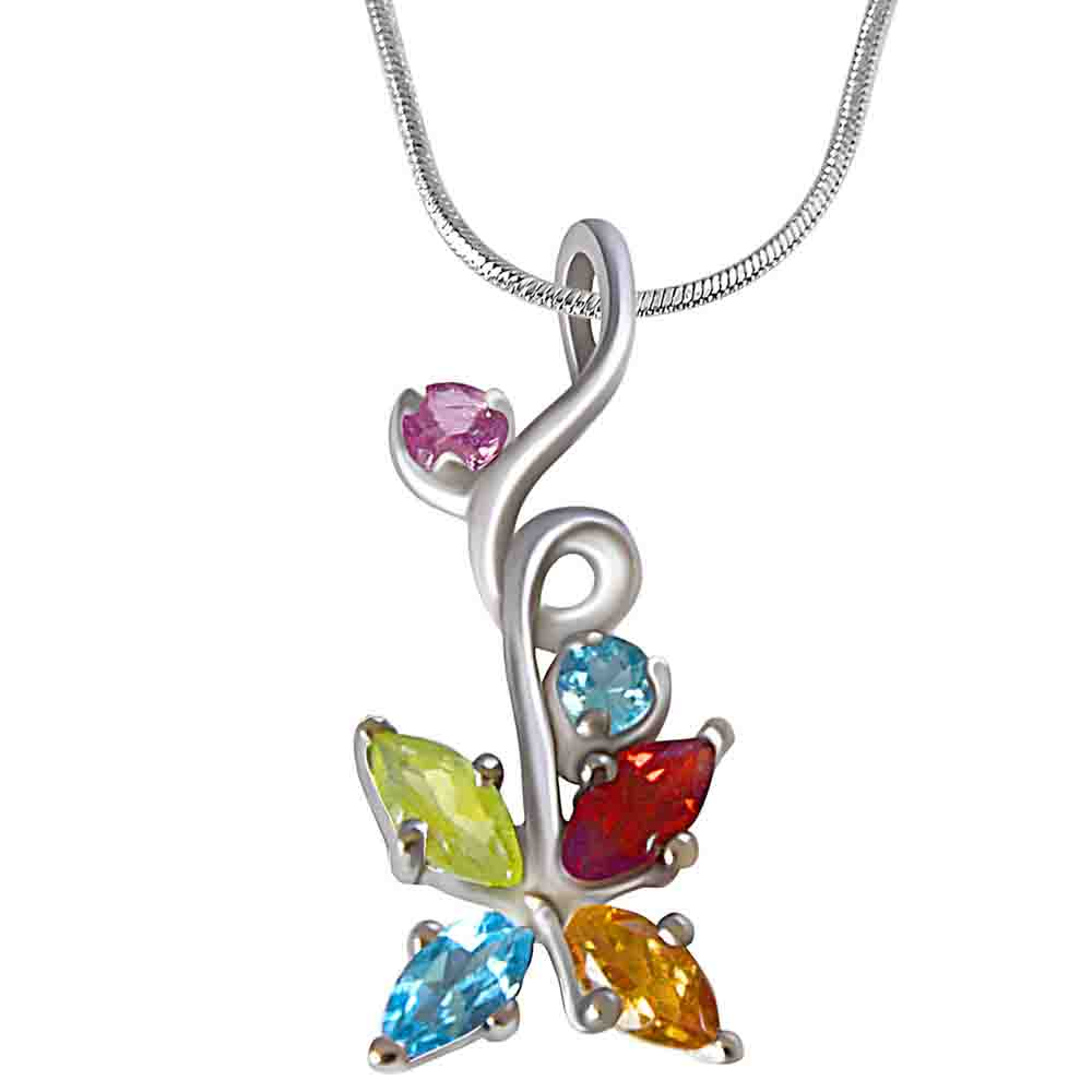 Multi Colored Precious Gemstones Pendant