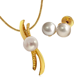 Pearl Sets-Real Pearl Set with Chain