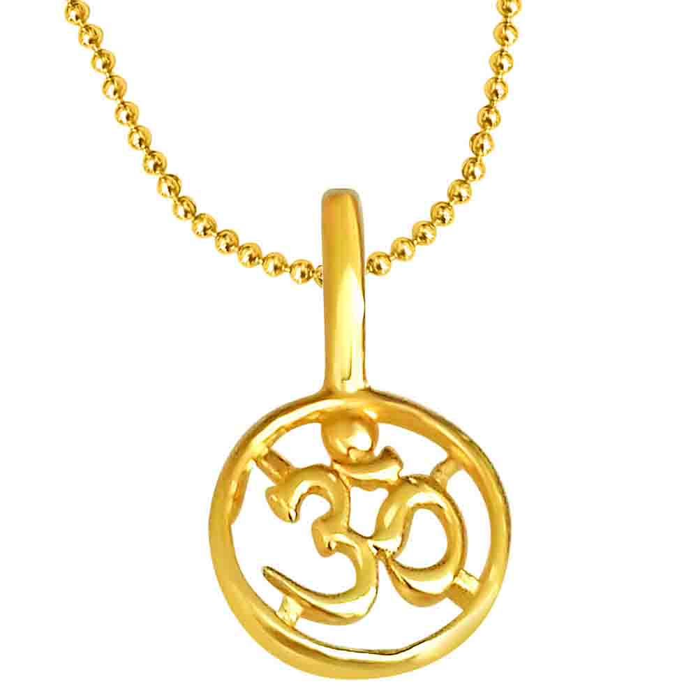 OM Shaped Gold Plated Pendant