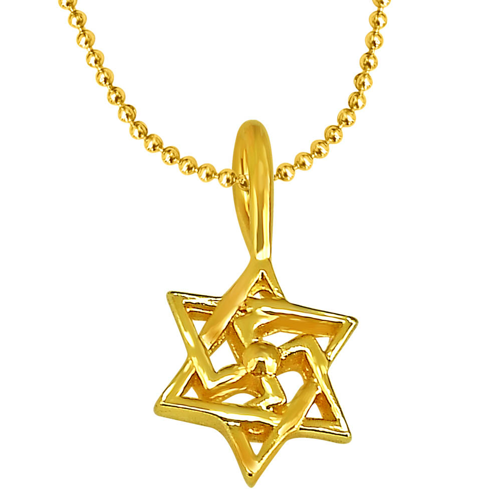 Swastik Shaped Gold Plated Pendant