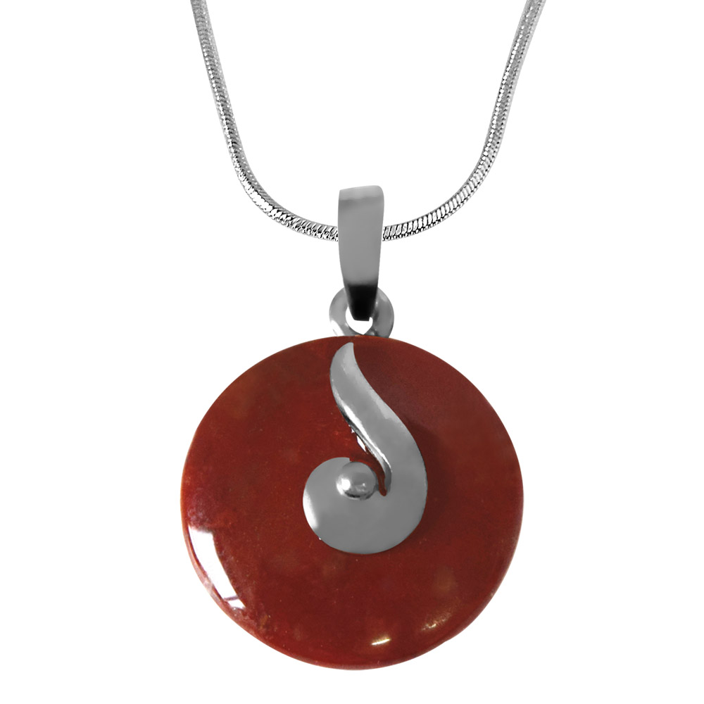 Round Disc Shaped Brown Jasper & Pendant