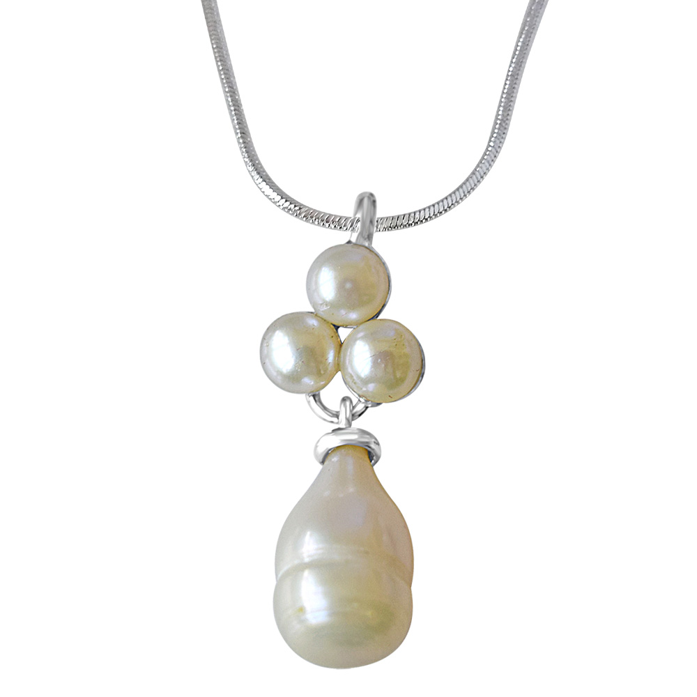 Drop Pearl with Pearl Flower Pendant
