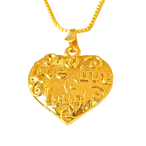 Precious Stone Pendant-Heart Shaped Gold Plated Pendant