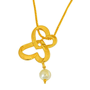 Precious Stone Pendant-Heart Shaped Gold Plated and Shell Pearl Pendant