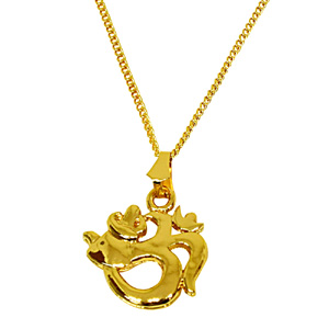 Religious Pendants-Peaceful Om Gold Plated Religious Pendant
