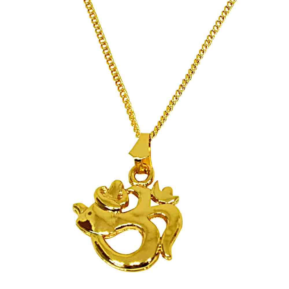Peaceful Om Gold Plated Religious Pendant