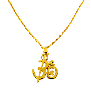 Religious Pendants-Mini OM Gold Plated Religious Pendant with Chain SDS275