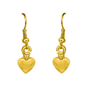 Gold Plated Earrings-Heart Shaped Gold Plated Wire Hanging Earrings