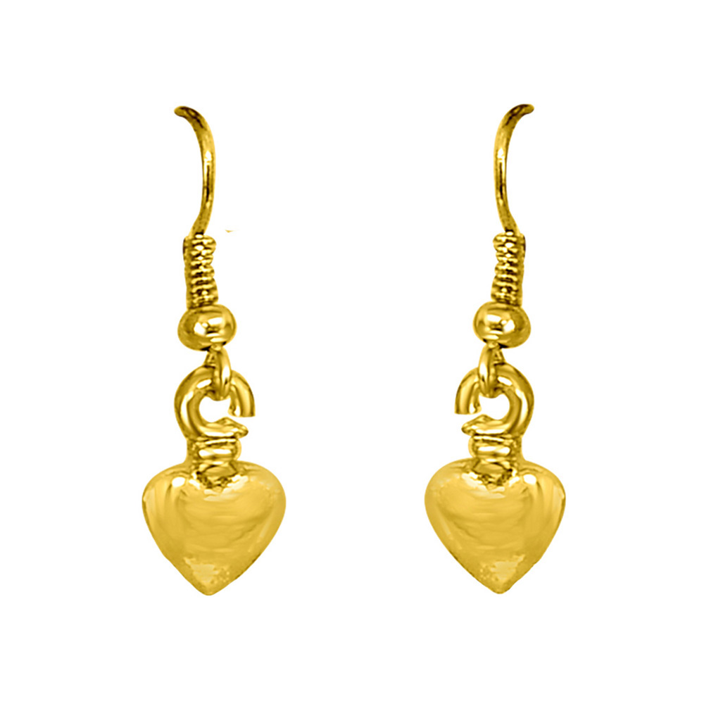 Heart Shaped Gold Plated Wire Hanging Earrings