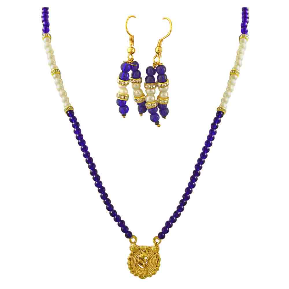 Pendant, Shell Pearl & Blue Stone Necklace Set