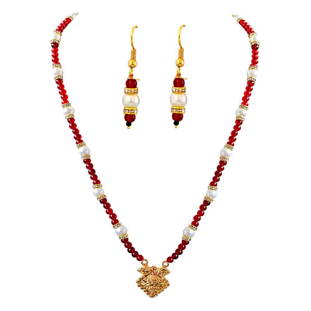 Precious Stone Sets-Pendant, Red Stone & Shell Pearl Necklace Set