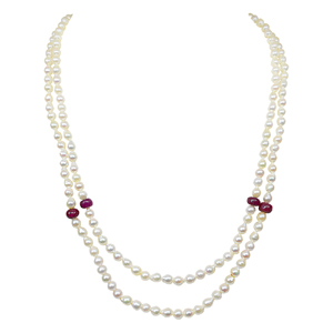 Pearl Sets-Pearl Necklace with Real Ruby