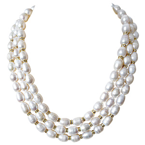 Pearls-3 Line Big Elongated Pearl & Stone Ring Necklace