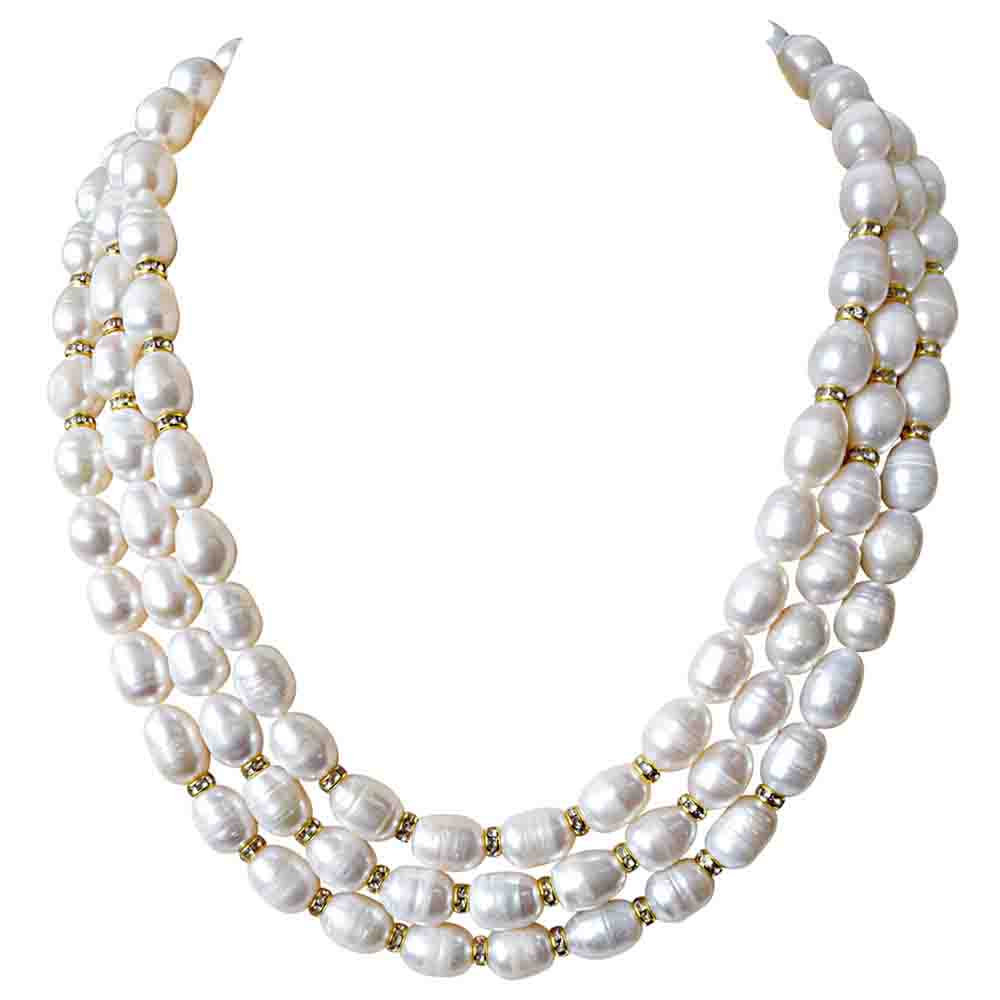 3 Line Big Elongated Pearl & Stone Ring Necklace