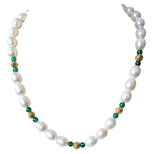 Pearls-Big Elongated Pearl and Gold Plated Ball Necklace