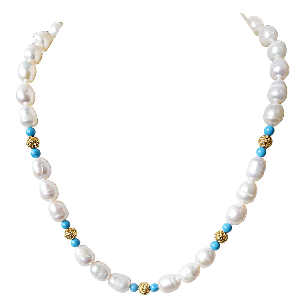 Turquoise, Big Elongated Pearl and Gold Plated Ball Necklace
