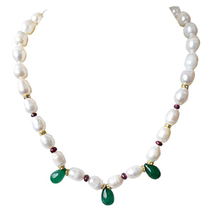 Pearls-Green Onyx, Red Ruby Beads, Stone Ring & Necklace