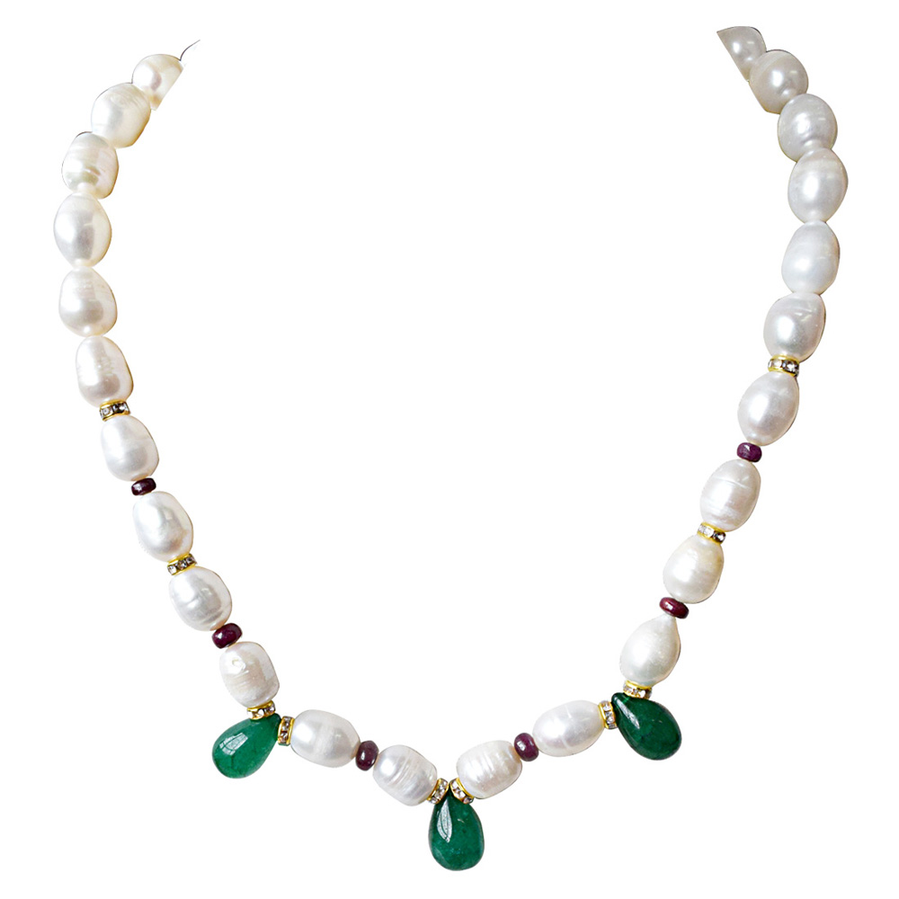 Green Onyx, Red Ruby Beads, Stone Ring & Necklace