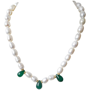 Pearls-Green Onyx, Stone Ring and Necklace