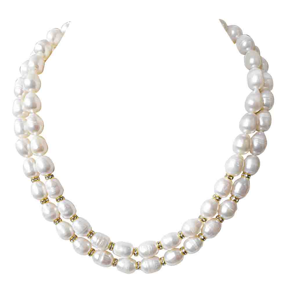 2 Line Heavy Looking Real Pearl and Stone Ring Necklace