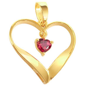 Heart Collection-Red Ruby Heart Shape Gold Pendant