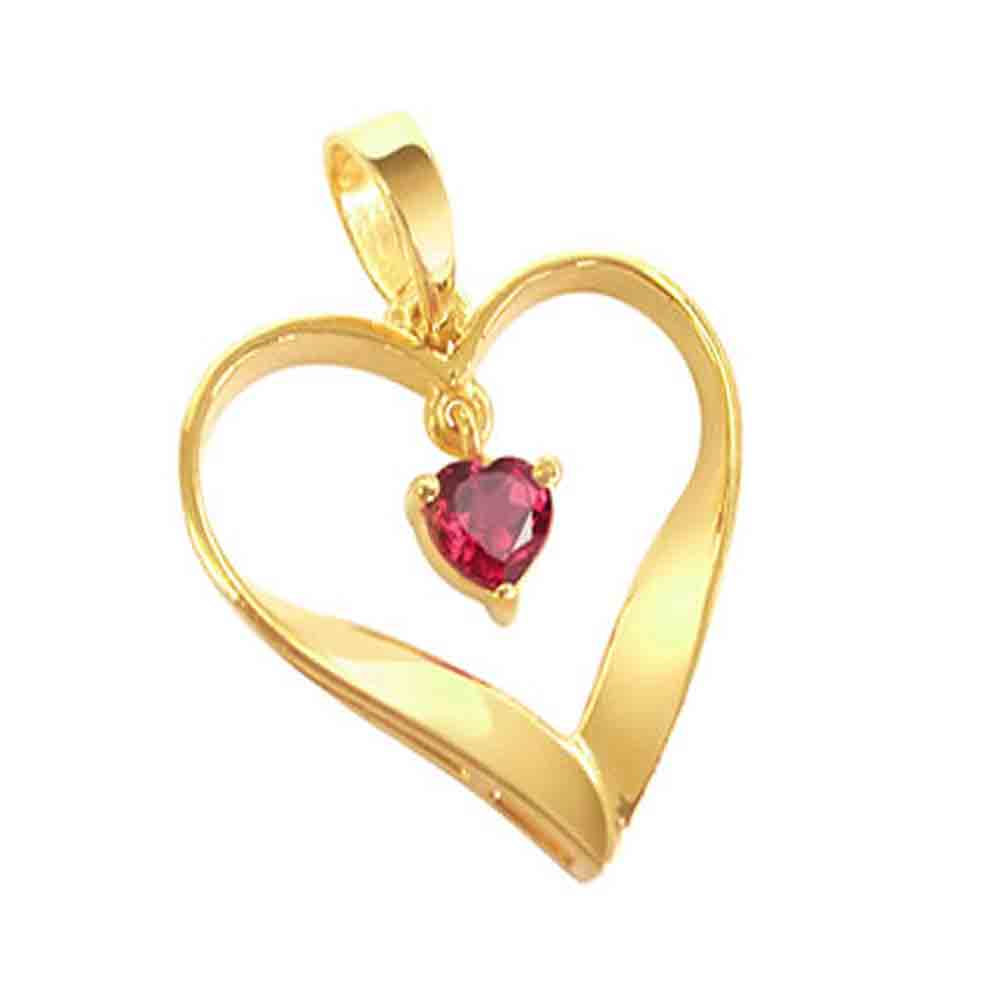 Red Ruby Heart Shape Gold Pendant